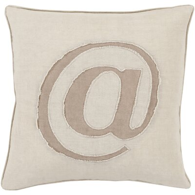 Griffith Linen Text Throw Pillow Size: 18 H x 18 W x 4 D, Color: Ivory, Filler: Down