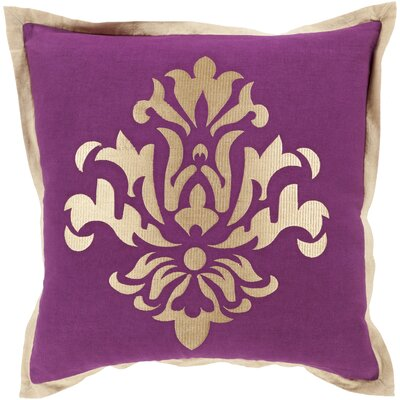 Boulters Throw Pillow Size: 22 H x 22 W x 4 D, Color: Eggplant, Filler: Down
