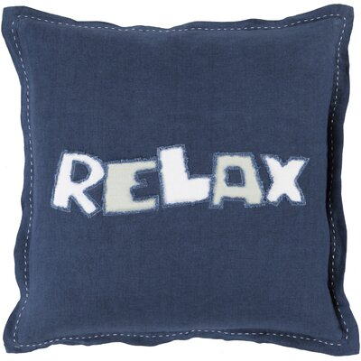 Relax Linen Throw Pillow Size: 18 H x 18 W x 4 D, Color: Navy, Filler: Polyester