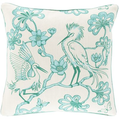 Cotton Throw Pillow Color: Mint, Filler: Down