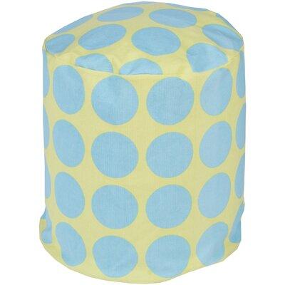 Chelsie Cotton Pouf Ottoman Upholstery: Aqua/Lime