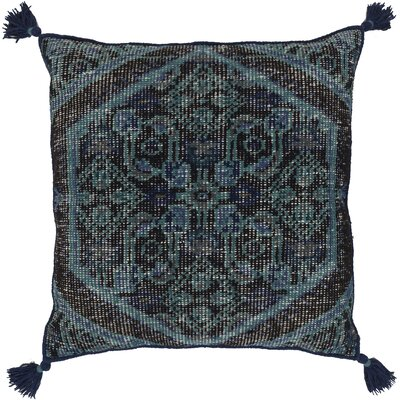 Cantrell Square Throw Pillow Color: Navy, Filler: Down