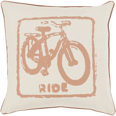 Bike Ride Cotton Throw Pillow Color: Tan / Beige, Size: 18 H x 18 W x 4 D, Filler: Down