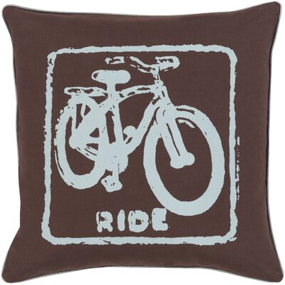 Bike Ride Cotton Throw Pillow Size: 22 H x 22 W x 4 D, Color: Slate / Brow, Filler: Polyester