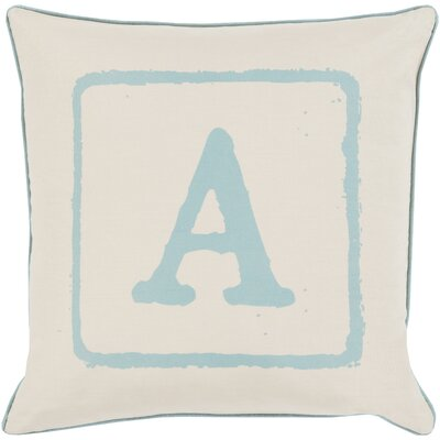 Isabelle Cotton Throw Pillow Size: 20 H x 20 W x 5 D, Color: Moss/Beige, Letter: A
