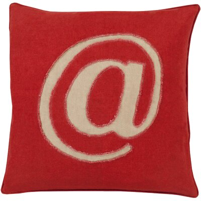 Griffith Linen Text Throw Pillow Size: 18 H x 18 W x 4 D, Color: Red, Filler: Down