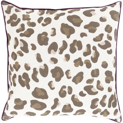 Rushden Leopard Throw Pillow Size: 22 H x 22 W x 4 D, Color: Eggplant / Chocolate, Filler: Down