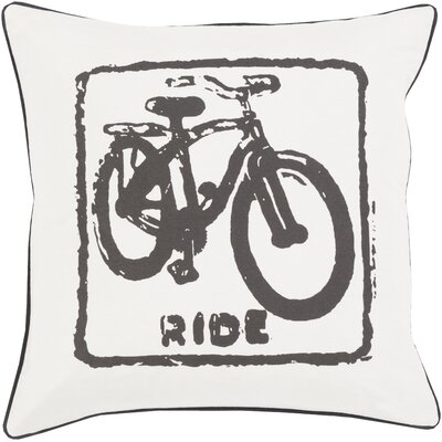 Andrea Bike Ride Cotton Throw Pillow Size: 18 H x 18 W x 4 D, Color: Black / Light Gray, Filler: Polyester