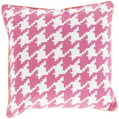 Cotton Throw Pillow Size: 22 H x 22 W x 4 D, Color: Hot Pink, Filler: Down