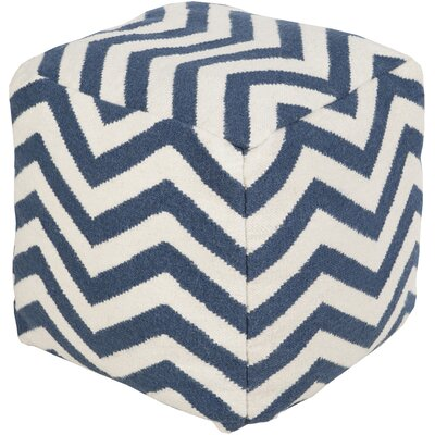 Angell Square Pouf Ottoman Upholstery: Blue/Winter White