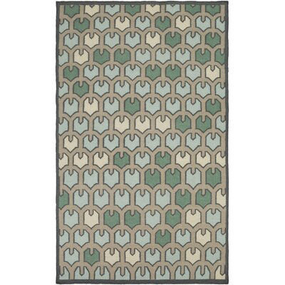 Criss Taupe/Aqua Geometric Area Rug Rug Size: Rectangle 5 x 8