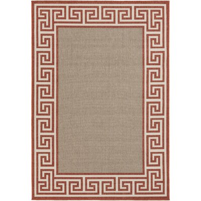 Pearce Rust/Taupe Indoor/Outdoor Area Rug Rug Size: 36 x 56