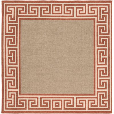 Pearce Rust/Taupe Indoor/Outdoor Area Rug Rug Size: Square 73