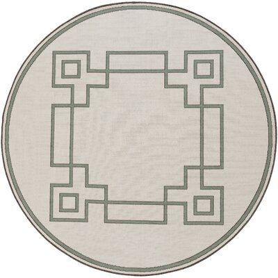 Pearce Machine Woven Beige/Moss Indoor/Outdoor Area Rug Rug Size: Round 53