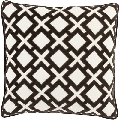 Boulton Throw Pillow Size: 18 H x 18 W x 4 D, Color: Black/Cream , Filler: Down