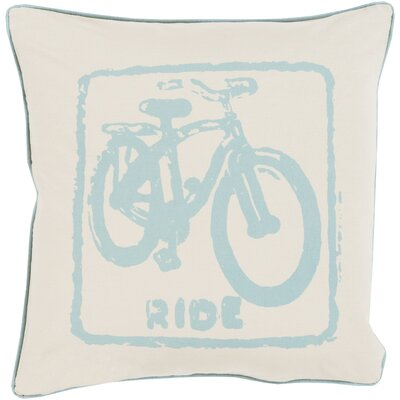 Andrea Bike Ride Cotton Throw Pillow Size: 22 H x 22 W x 4 D, Color: Teal/Khaki, Filler: Down