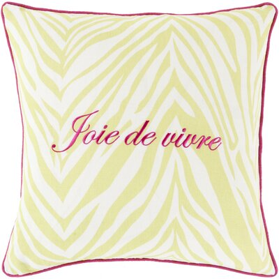 Throw Pillow Size: 20 H x 20 W x 4 D, Color: Lime, Filler: Down