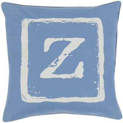 Isabelle Cotton Throw Pillow Size: 18 H x 18 W x 4 D, Color: Beige/Cobalt, Letter: Z