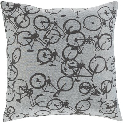Ellen Bicycle Print Throw Pillow Size: 18 H x 18 W x 4 D, Color: Dark Gray / Ivory, Filler: Down