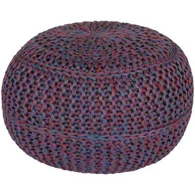 Arnold Pouf Ottoman Upholstery: Burgundy/Eggplant/Sky Blue