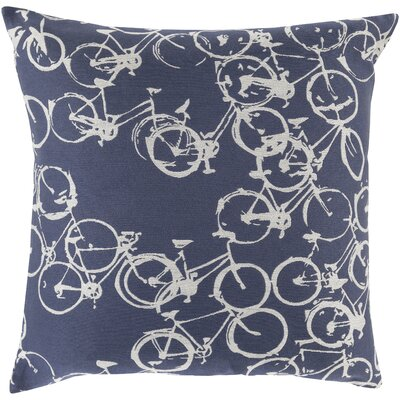 Bicycle Print Throw Pillow Size: 18 H x 18 W x 4 D, Color: Navy / Light Gray, Filler: Polyester