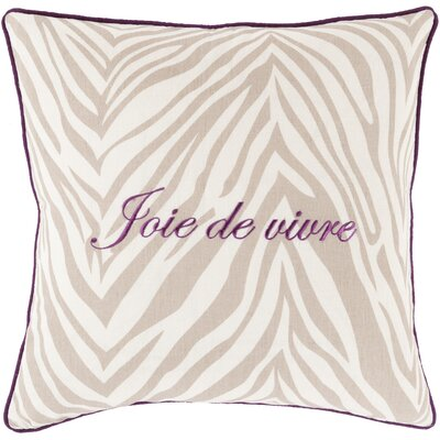 Throw Pillow Size: 22 H x 22 W x 4 D, Color: Taupe, Filler: Down