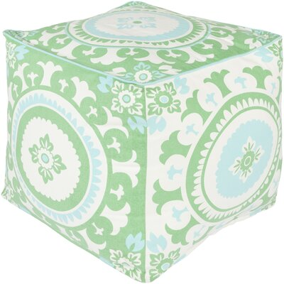 France Square Pouf Ottoman Upholstery: Mint Green/Ivory