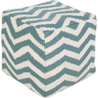 Angell Square Pouf Ottoman Upholstery: Ocean Blue/Peach Cream