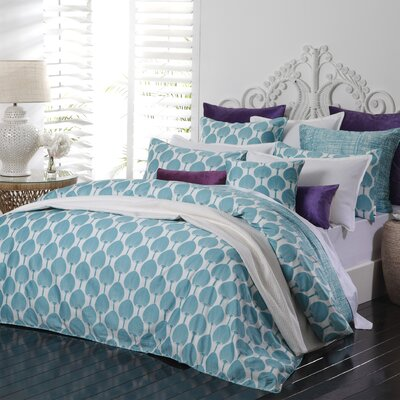 Barnabas 2 Piece Reversible Duvet Set Color: Teal/Ivory, Size: King