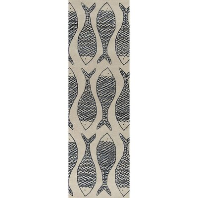 Brickyard Bone/Federal Blue Rug Rug Size: Runner 26 x 8