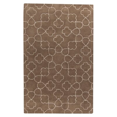 Jensen Hand Tufted Wool White/Brown Area Rug Rug Size: Rectangle 2 x 3
