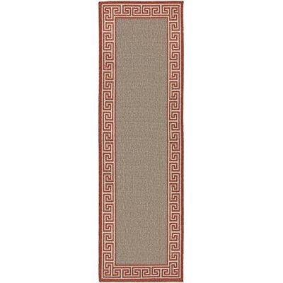 Pearce Rust/Taupe Indoor/Outdoor Area Rug Rug Size: Runner 23 x 79