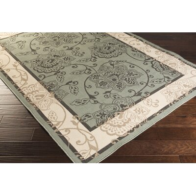Pearce Moss/Ivory Indoor/Outdoor Area Rug Rug Size: 53 x 76