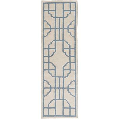 Elsmere Beige/Blue Geometric Area Rug Rug Size: Runner 26 x 8