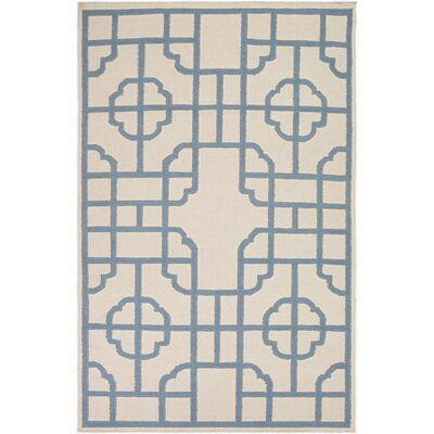 Elsmere Beige/Blue Geometric Area Rug Rug Size: Rectangle 5 x 8