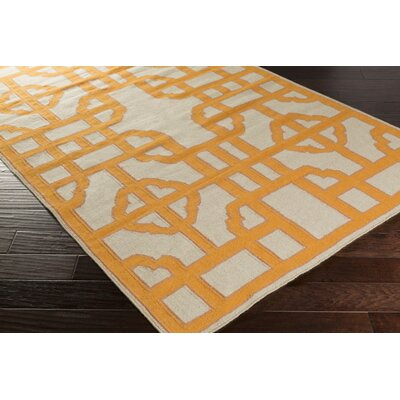 Elsmere Beige/Orange Geometric Area Rug Rug Size: 33 x 53