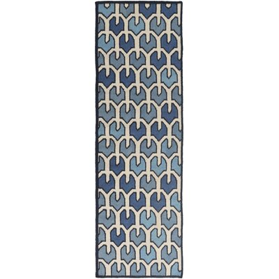 Criss Blue/Beige Geometric Area Rug Rug Size: Runner 2'6