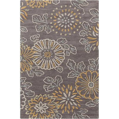 Ivesdale Charcoal Floral Area Rug Rug Size: Rectangle 5 x 76