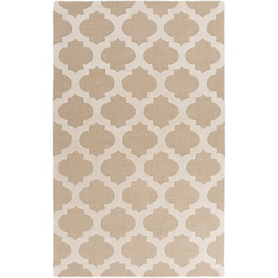 Quaker Hand-Tufted Beige/Light Gray Geometric Area Rug Rug Size: 2 x 3