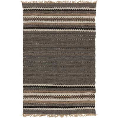 Auburn Gray/Brown Stripe Area Rug Rug Size: 5 x 8