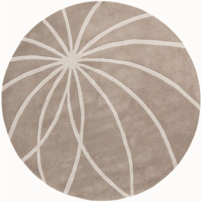 Carnahan Hand-Tufted Wool Khaki/Cream Area Rug Rug Size: Round 6