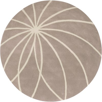 Carnahan Hand-Tufted Wool Khaki/Cream Area Rug Rug Size: Round 8