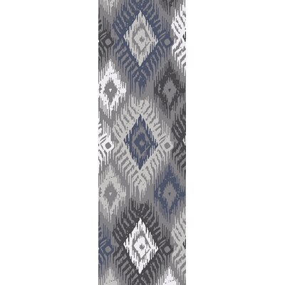 Alisha Ikat Gray/Blue Area Rug Rug Size: Rectangle 8 x 11