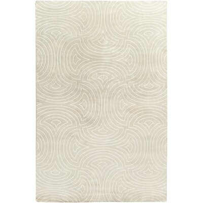 Lethe Modern Hand-Knotted Tan/Cream Area Rug Rug Size: Rectangle 5 x 8