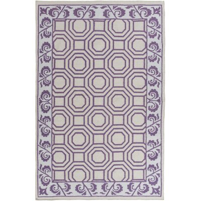 Nantes Light Gray/Violet Geometric Area Rug Rug Size: 33 x 53