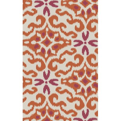 Wentworth Ikat/Suzani Hand Woven Wool Cherry/Ivory Area Rug Rug Size: Rectangle 33 x 53