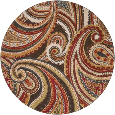 Mya Red Area Rug Rug Size: Round 67