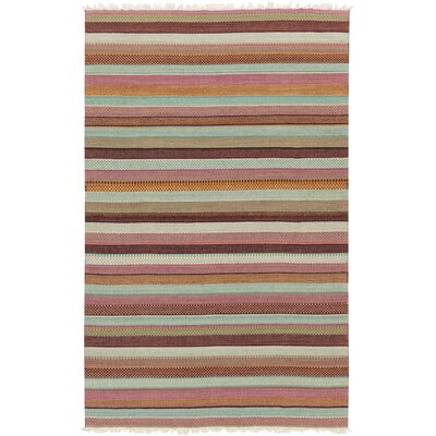 Basil Salmon Striped Rug Rug Size: 4 x 6