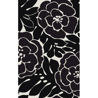 Abigail Hand-Woven Black/Gray Area Rug Rug Size: 5 x 8