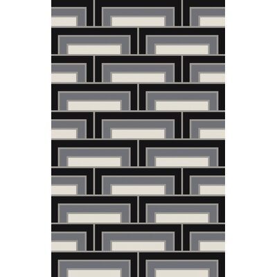 Durgan Black/Gray Geometric Area Rug Rug Size: 5 x 8